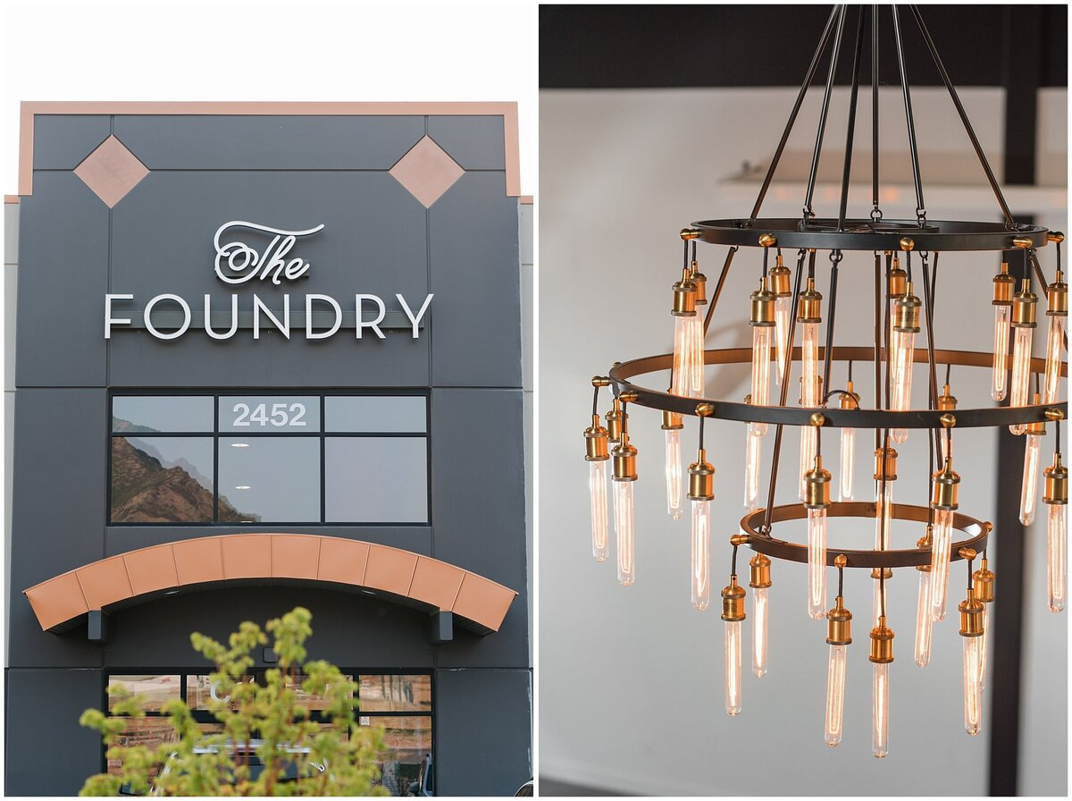 The Foundry sign and Edison lightbulb chandelier