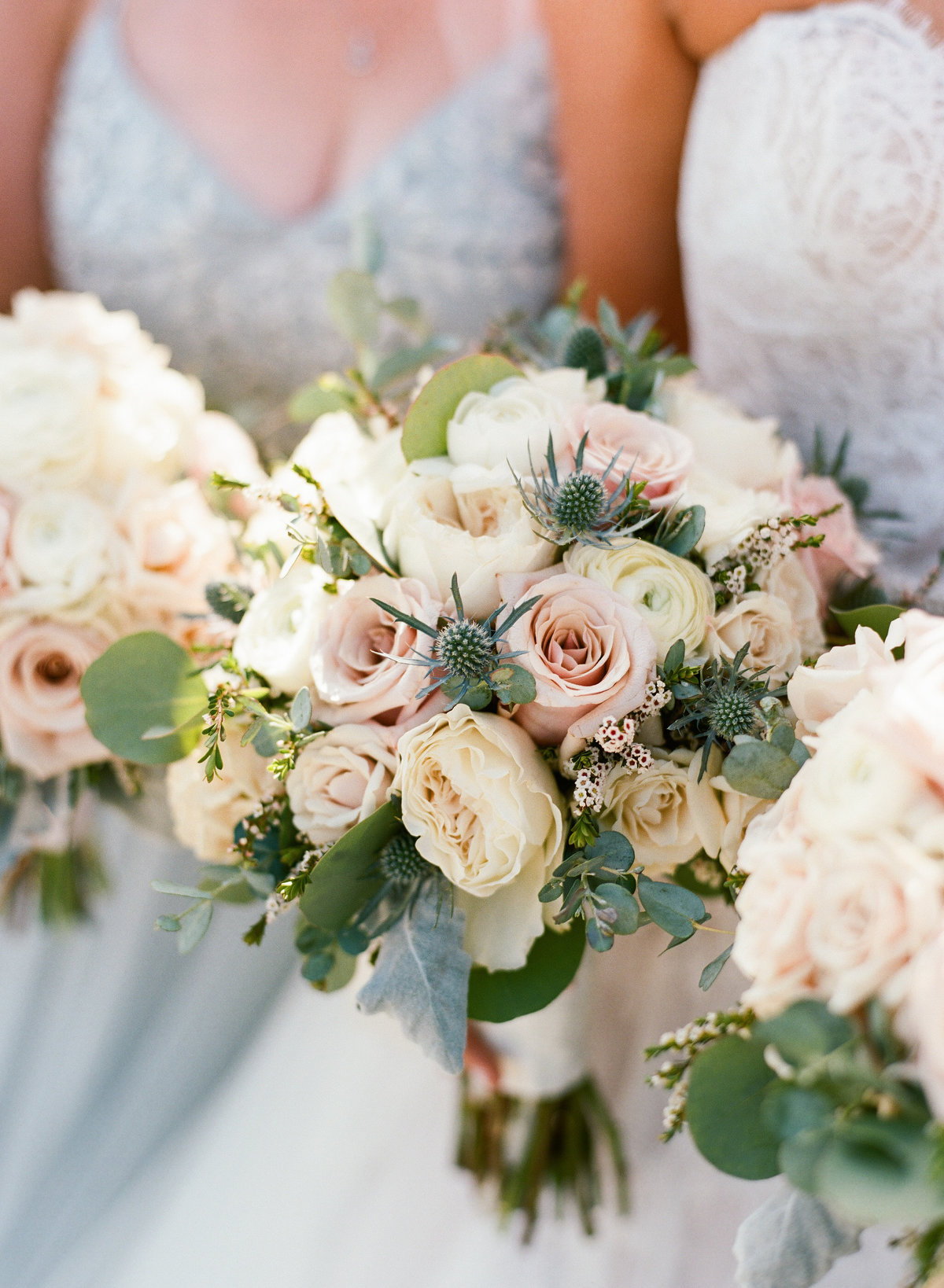 Blush and white bouquets