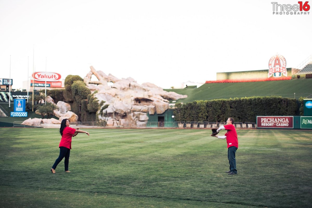 Angel Stadium Engagement Photos Orange County Los Angeles Wedding
