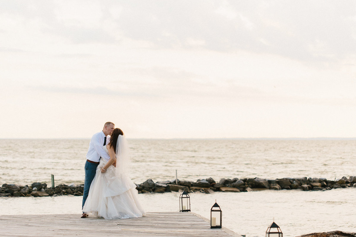 Waterfront sunset wedding photos at Silver Swan Bayside in Stevensville, Maryland.