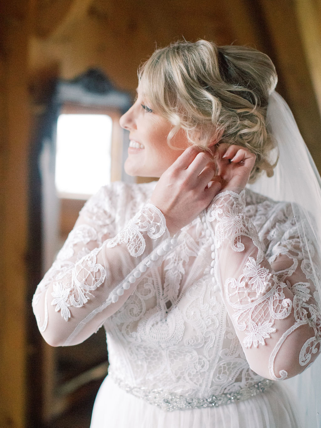 fall bride lace gown