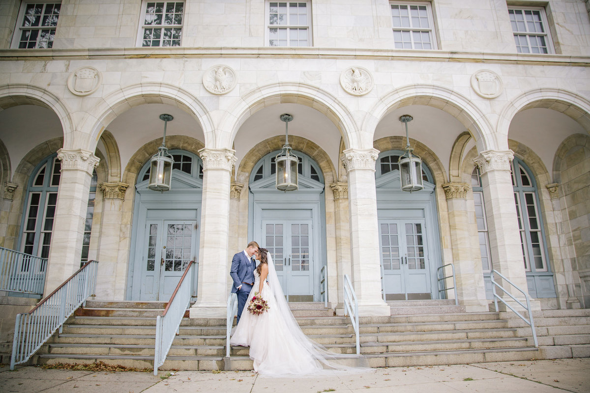 bride and groom outside grand venue at asbury park wedding