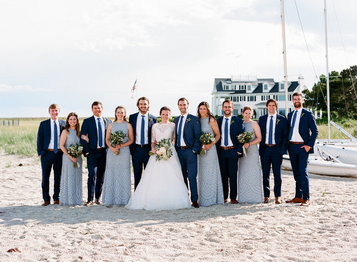 Bridal party on the beach Cape Cod