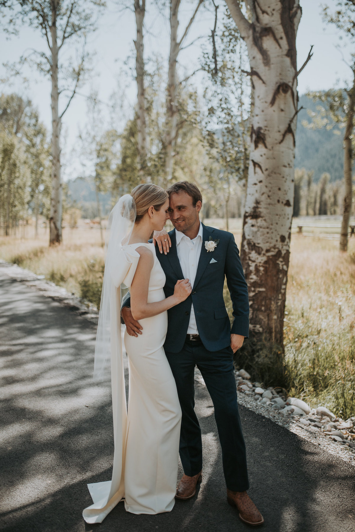 Couple outside for Montana wedding ceremony