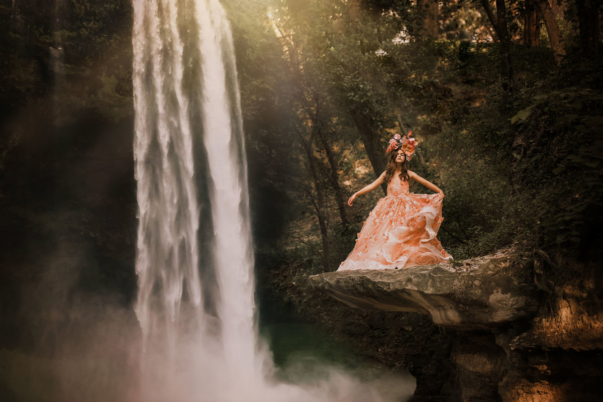 Girl-Peach Gown-Waterfall-Davis Park-Dallas