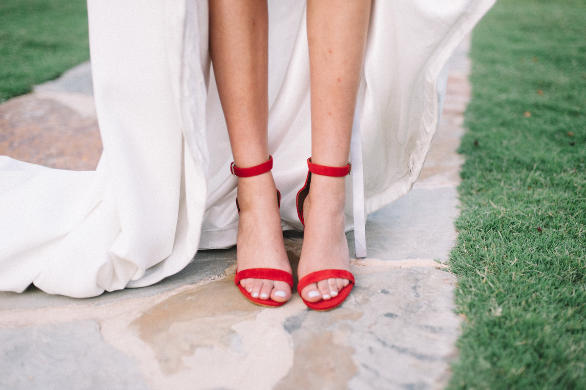 Pretty red wedding shoes in Hoover AL