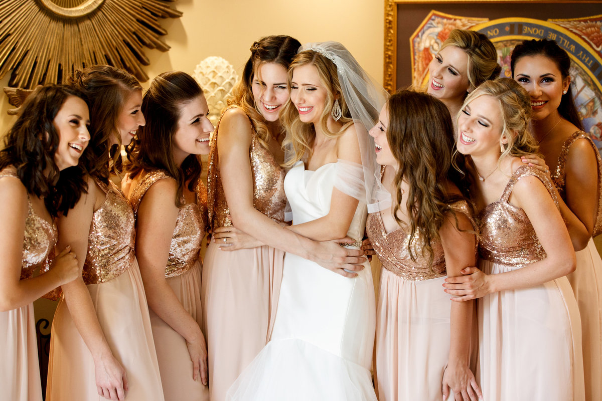 Vintage Villas wedding photographer bride bridesmaids laughing 4209 Eck ln., Austin, TX
