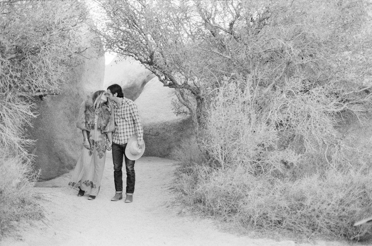 12-KTMerry-destination-engagement-session-black-white-Joshua-Tree
