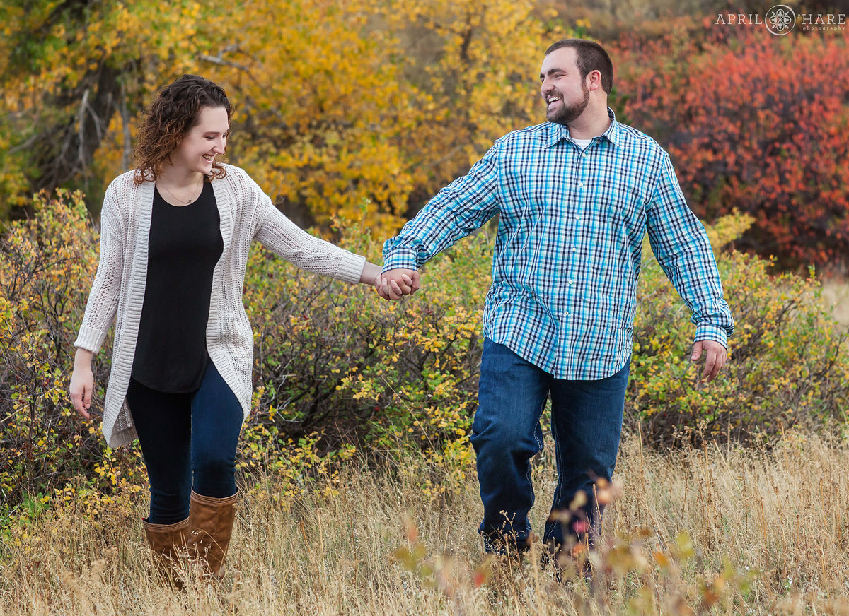 South Mesa Trail Fall Engagement Photography in Boulder Colorado