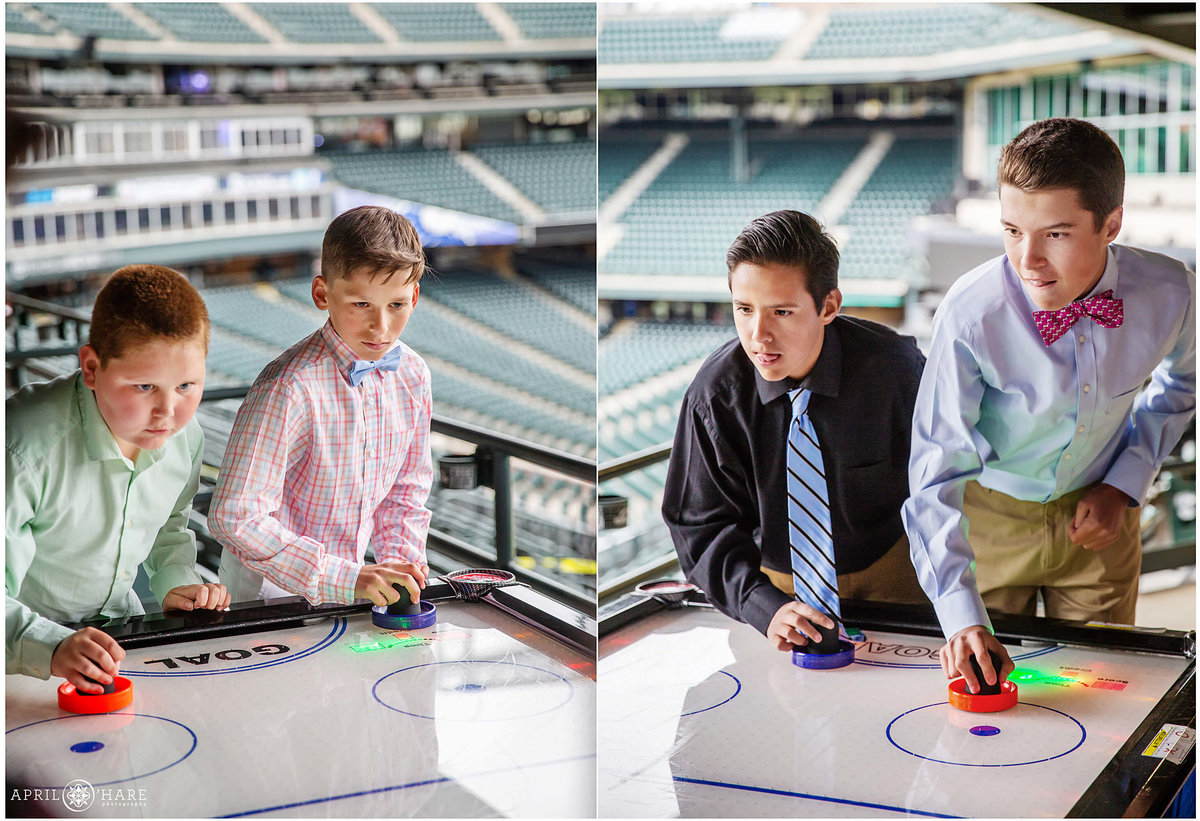 Bar Mitzvah Party Air Hockey Game at Coors Field in Denver Colorado