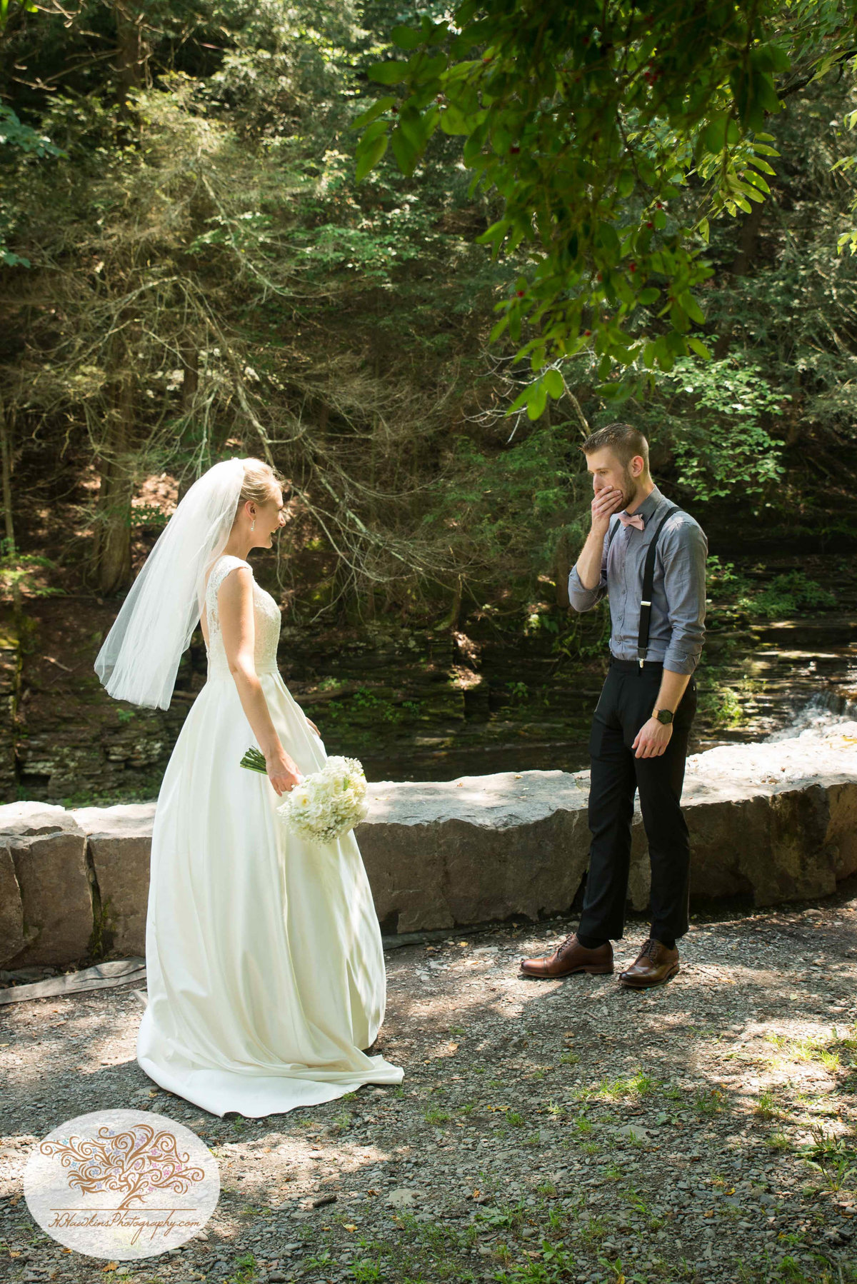 Robert Treman State Park Ithaca NY Wedding First Look1-2
