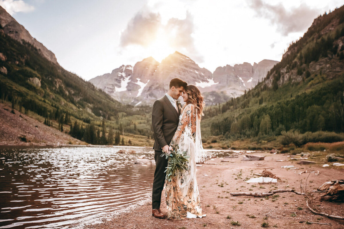 Maroon Bells Elopement at sunset