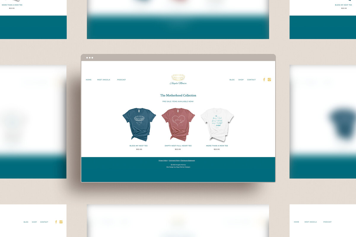 Angela Monica shop site one page mockup