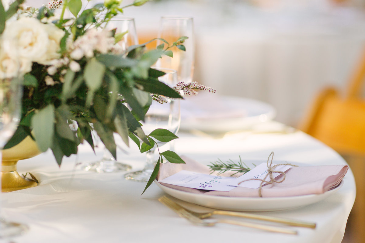 Reception table details at Firestone Vineyard wedding