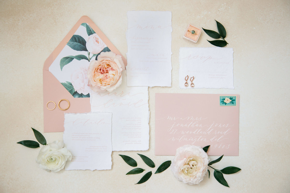Rose inspired blush wedding suite
