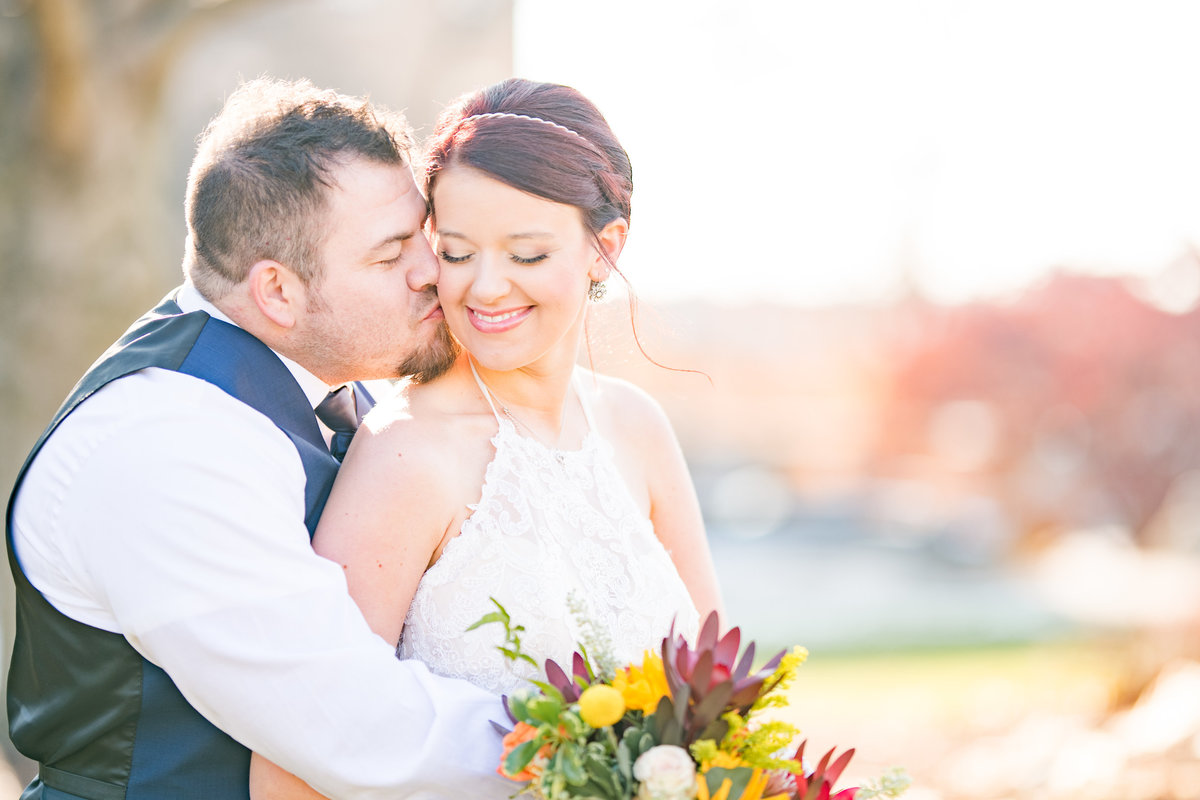 Couple Portraits Wedding Brewery Cincinnati Ohio Colorful Flowers-61