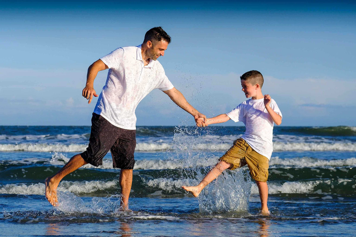 Father Son Family Vacation on Beach Isle of Palms by King and Fields Studios Charleston SC