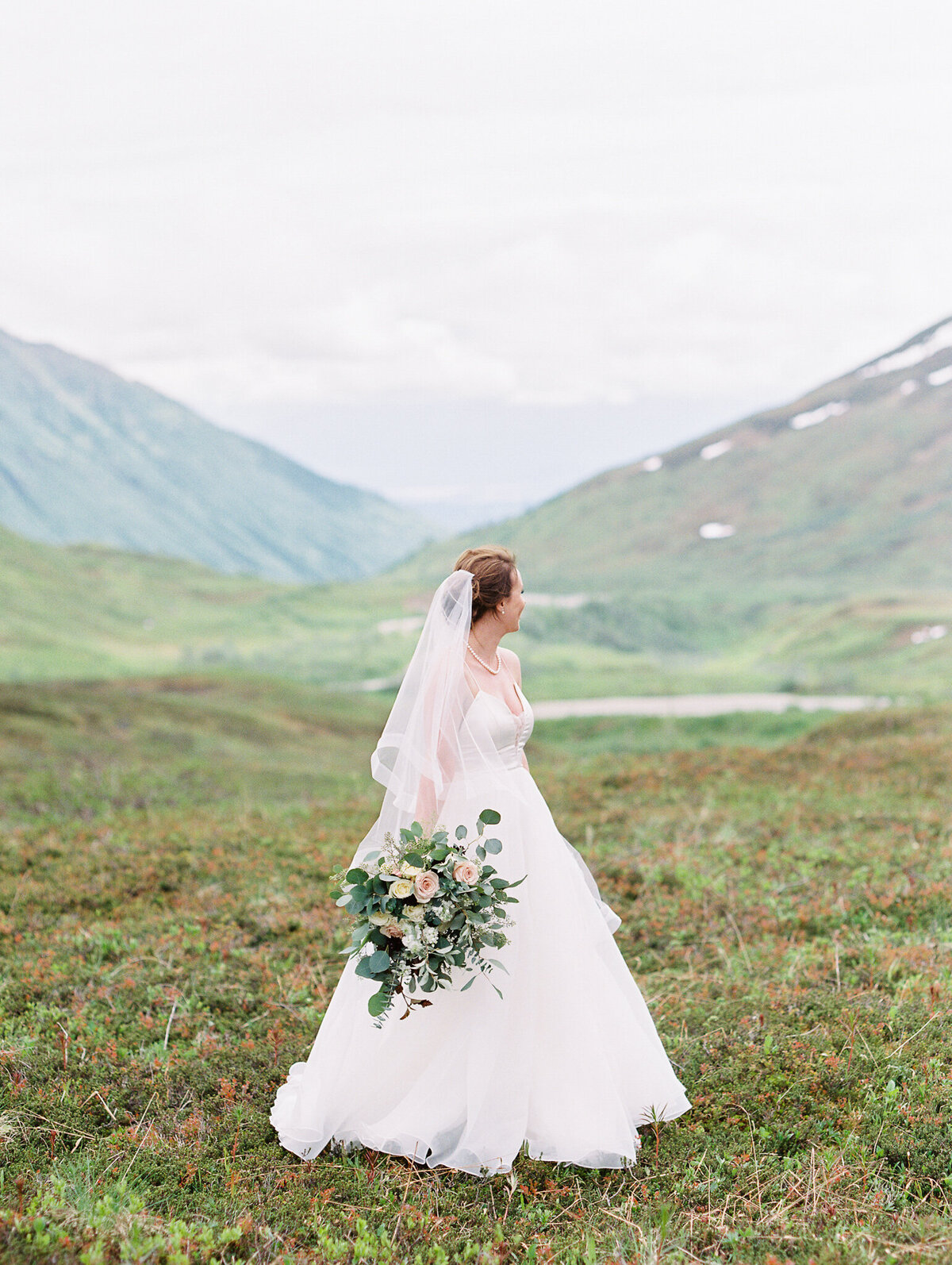 Hatcher Pass elopement bride film photographer