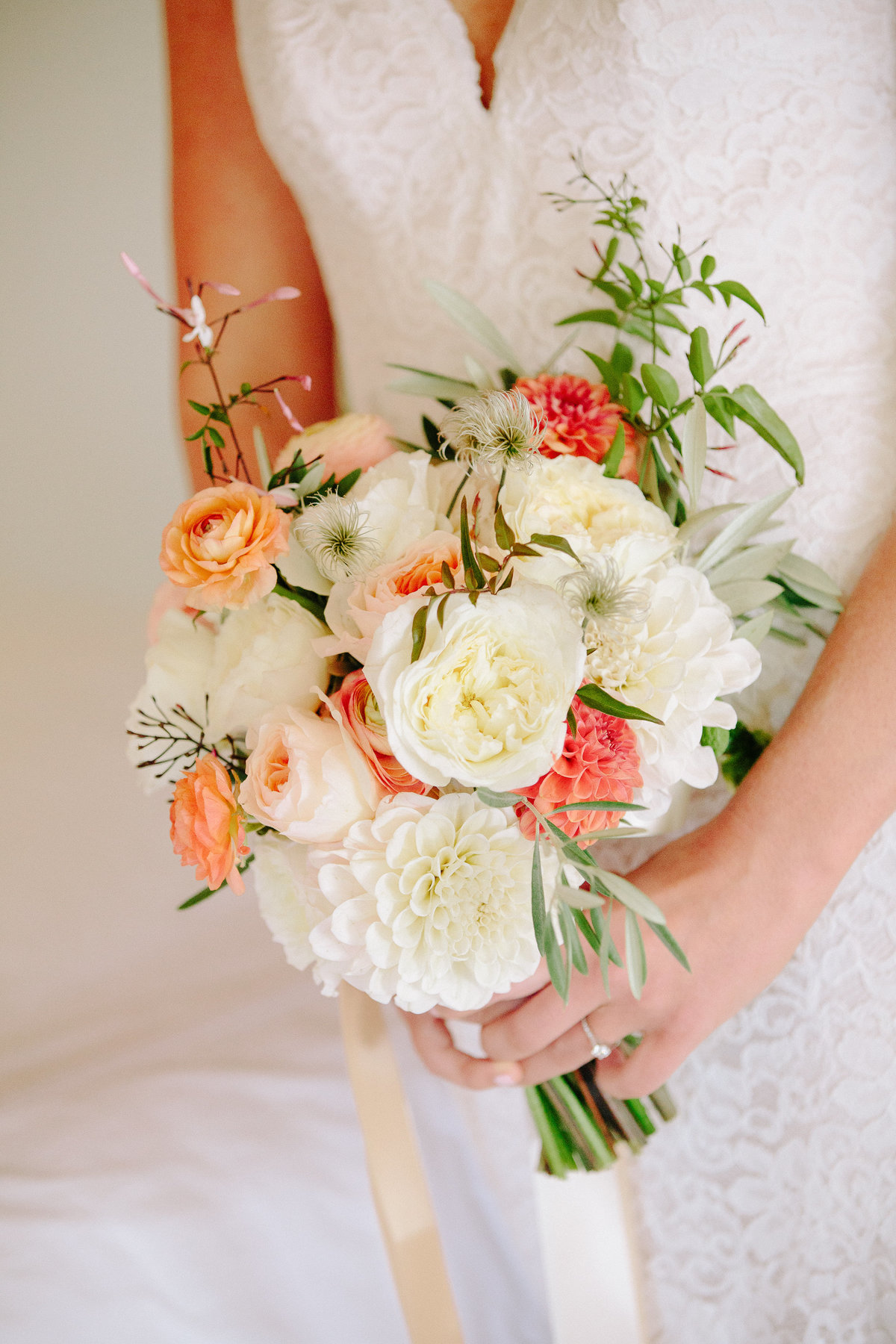 Peach and white bridal bouquet for a wedding at Beltane Ranch in Sonoma.