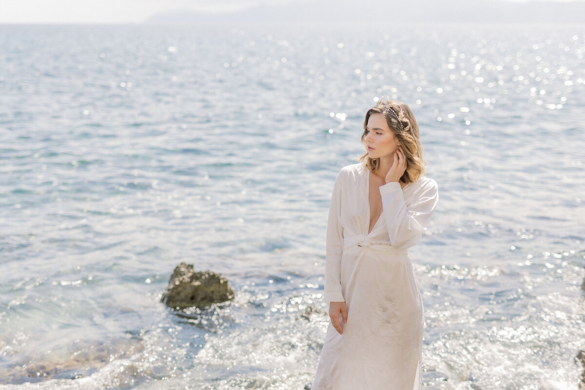 Beach Bridal Portrait Editorial Photoshoot in Greece 3