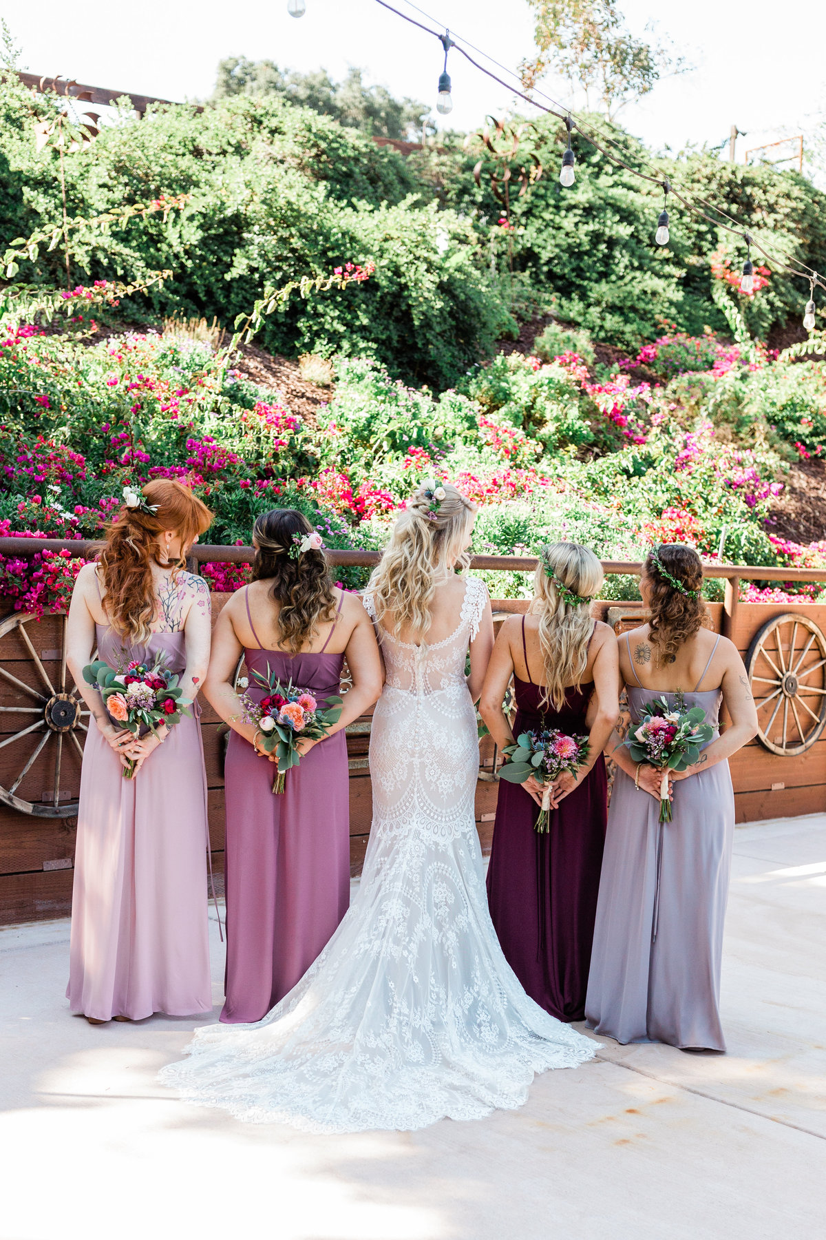 blush bohemian bridal party