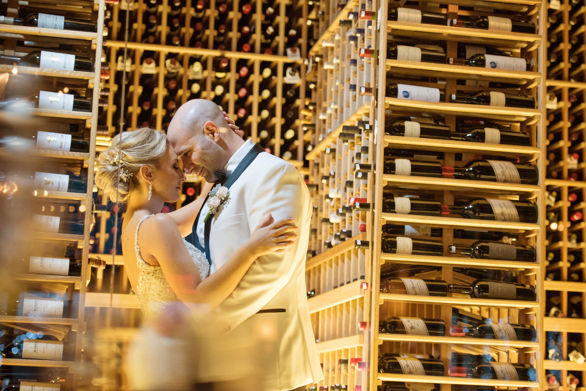 Wedding photos at the wine cellar at Prime