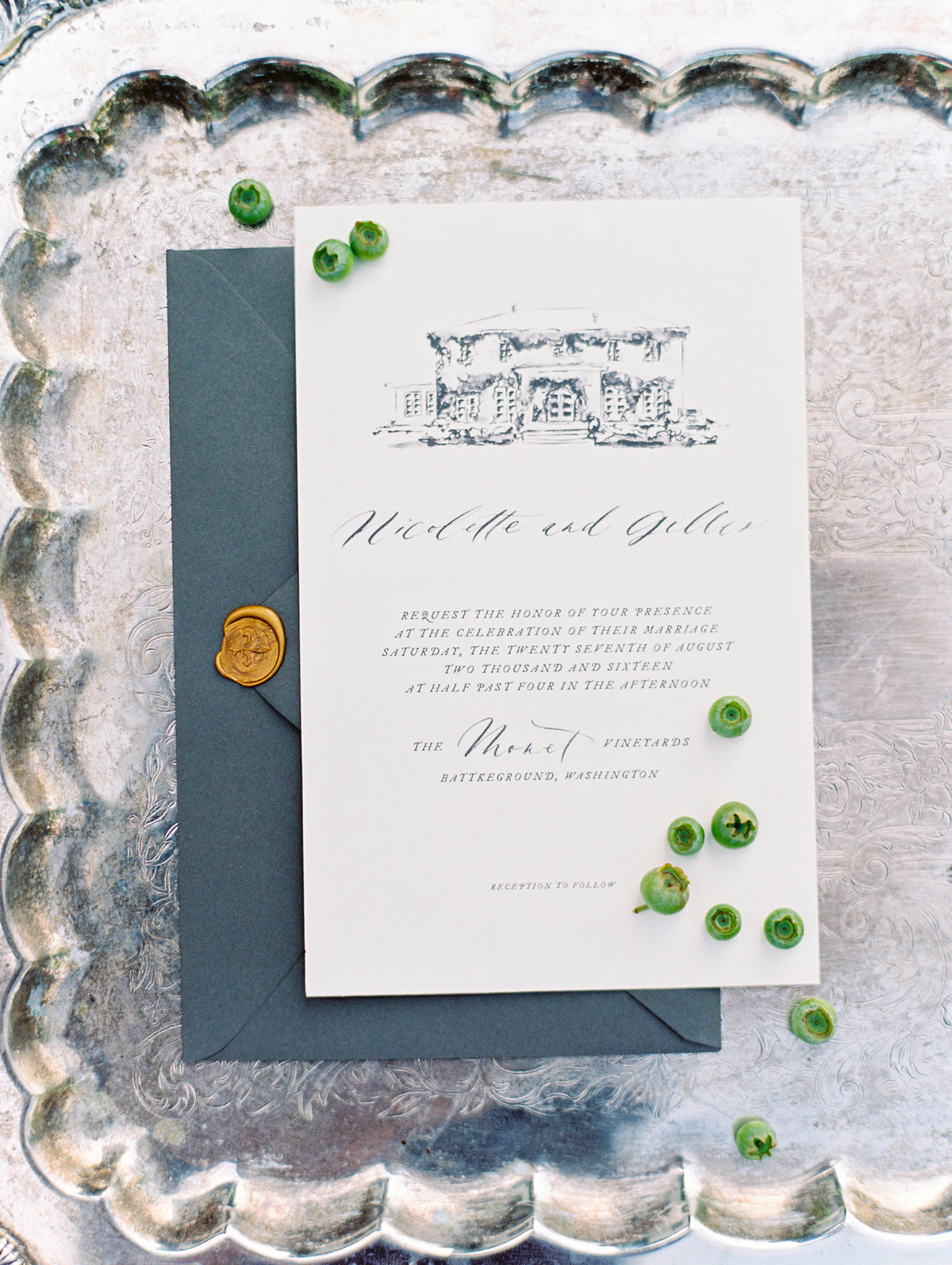 wedding invitation with custom calligraphy by rachel jacobson