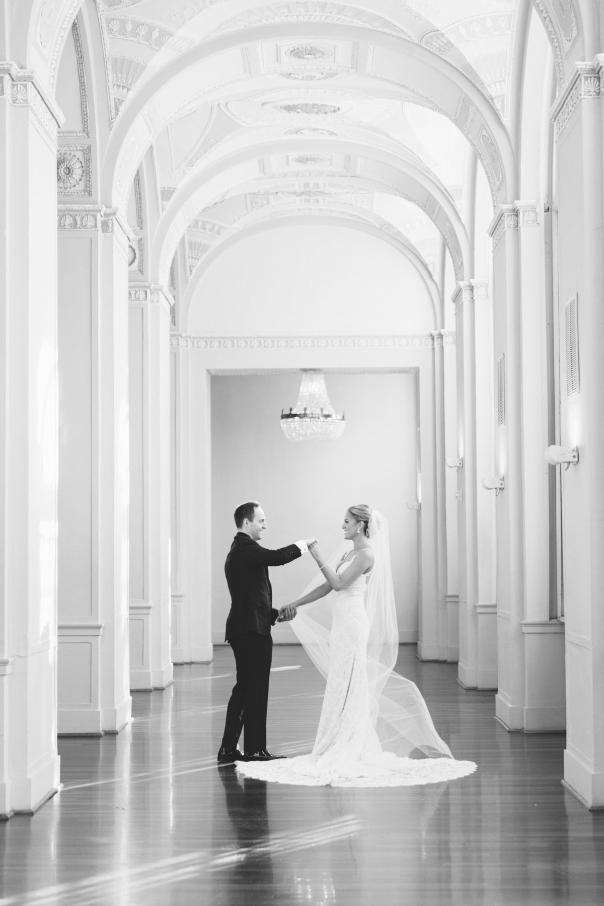 Dance like nobody is watching.  That's what Jack + Tracey did after their emotional first look at the Biltmore Ballrooms in Atlanta, GA.  Photo by Rebecca Cerasani.