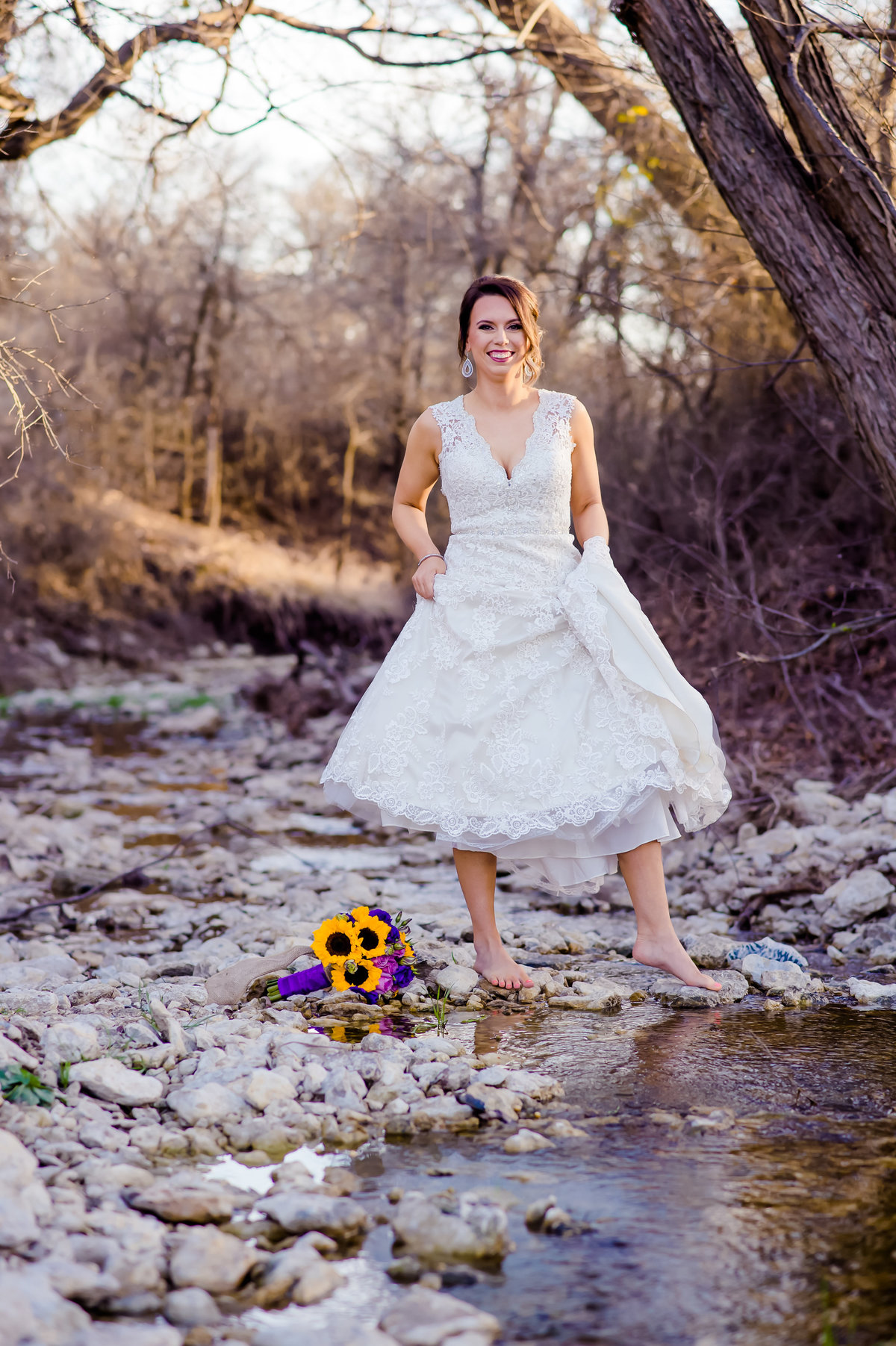bridal photo in creek