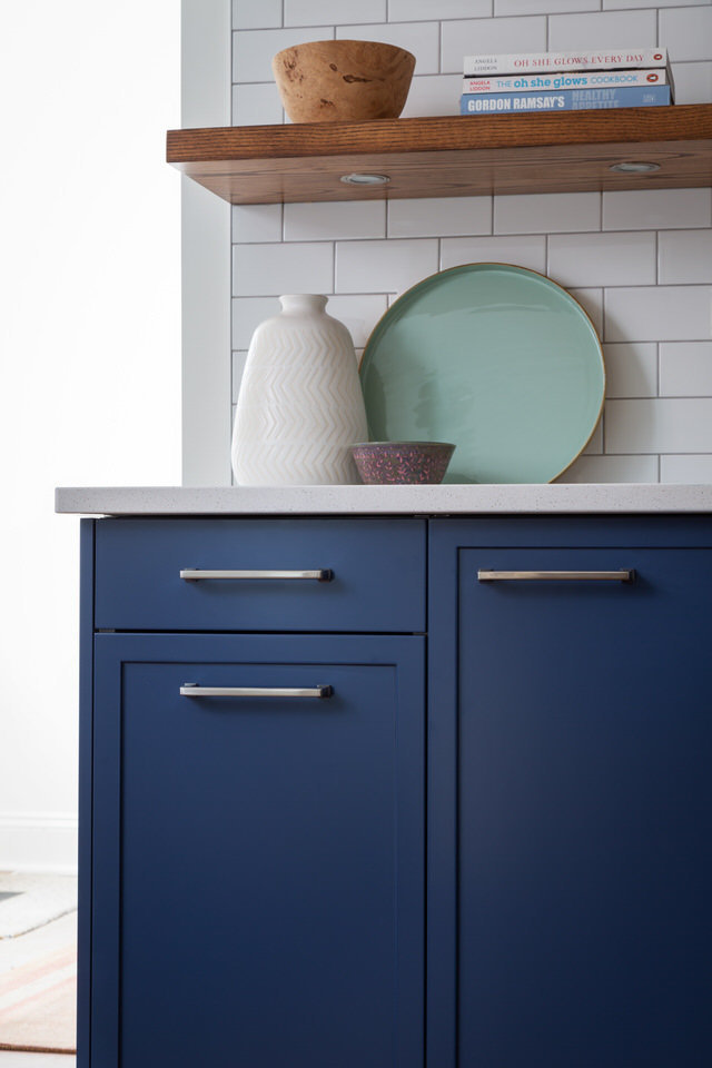 Skinny shaker cabinets in blue