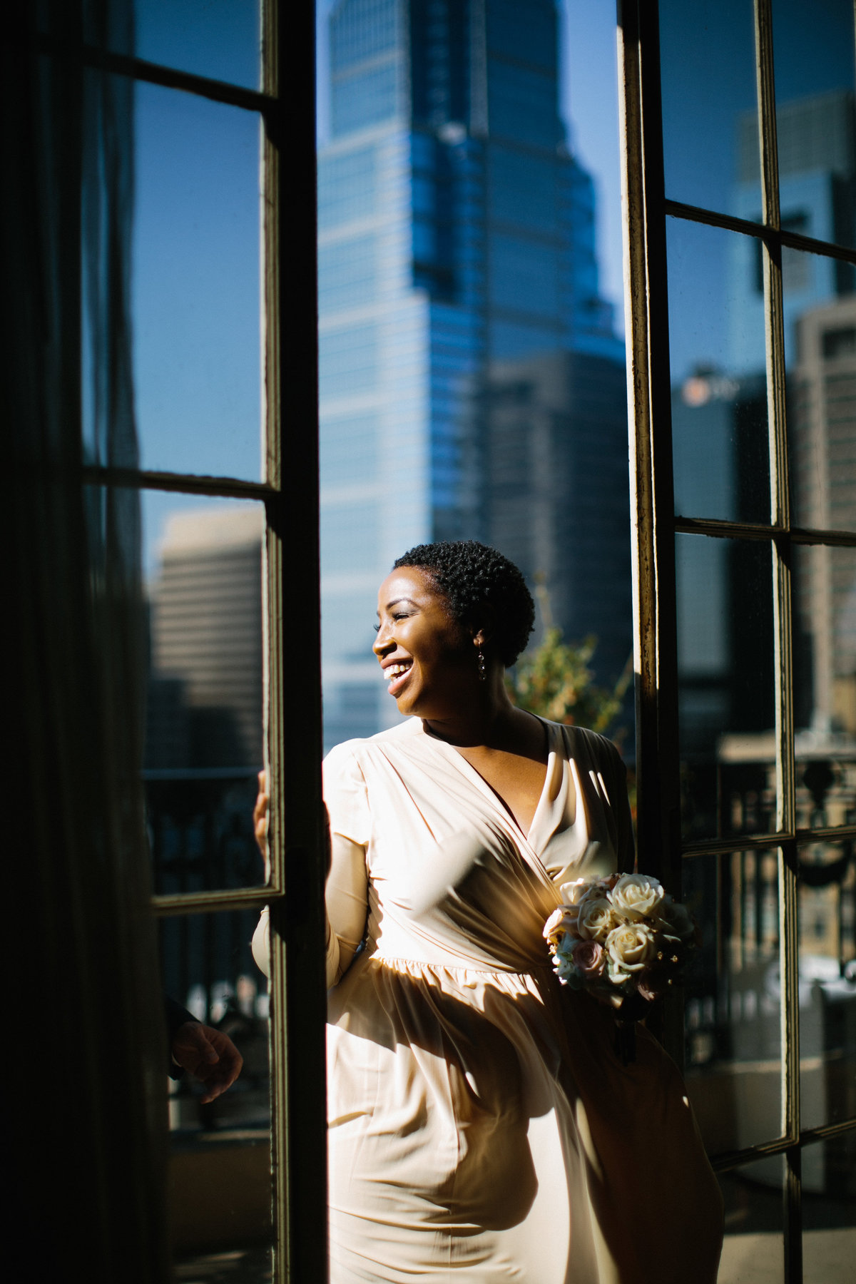 Gorgeous bride before her Philadelphia City Hall Wedding.