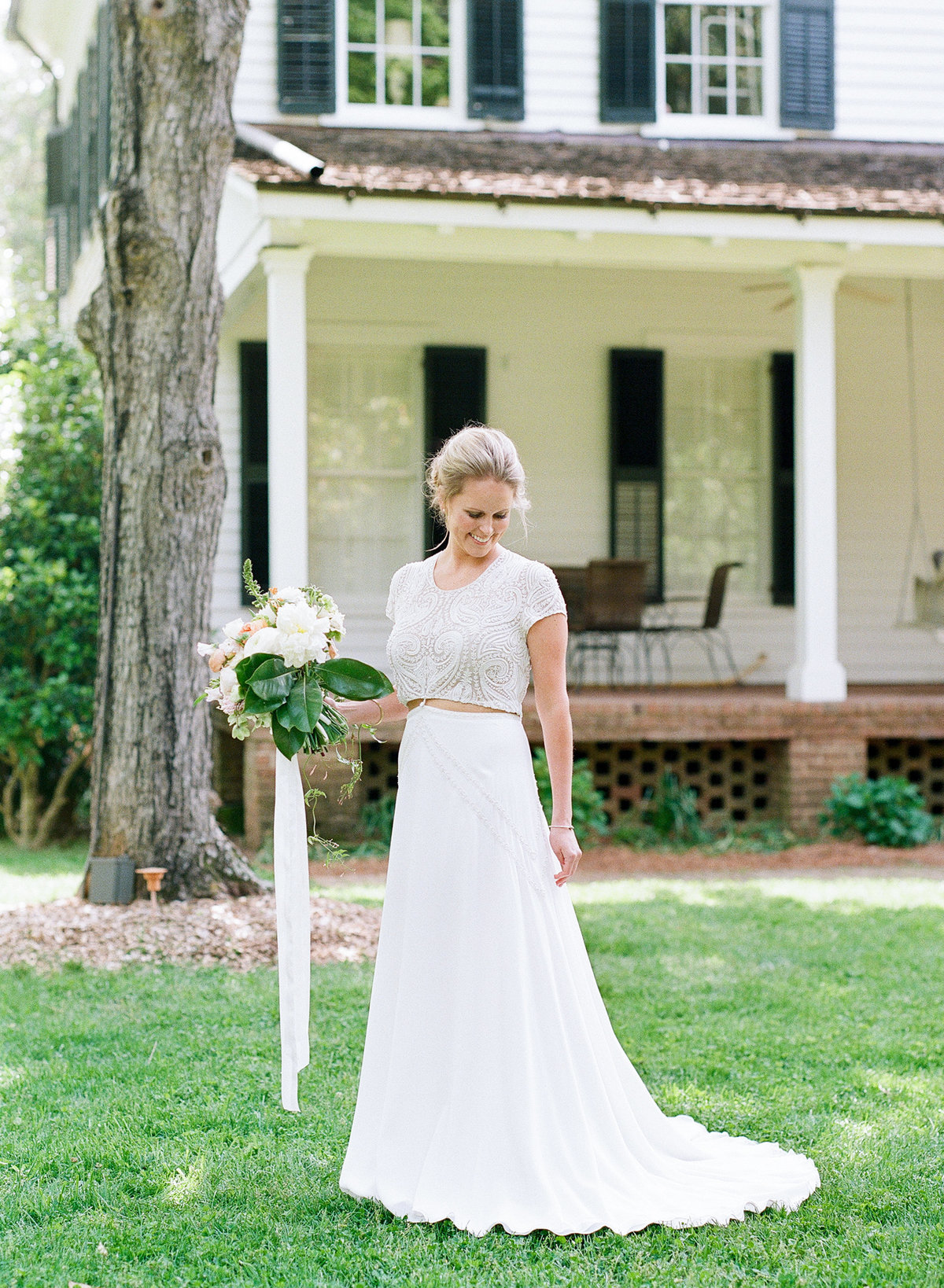 Southern Bride in Two Piece Gown Georiga