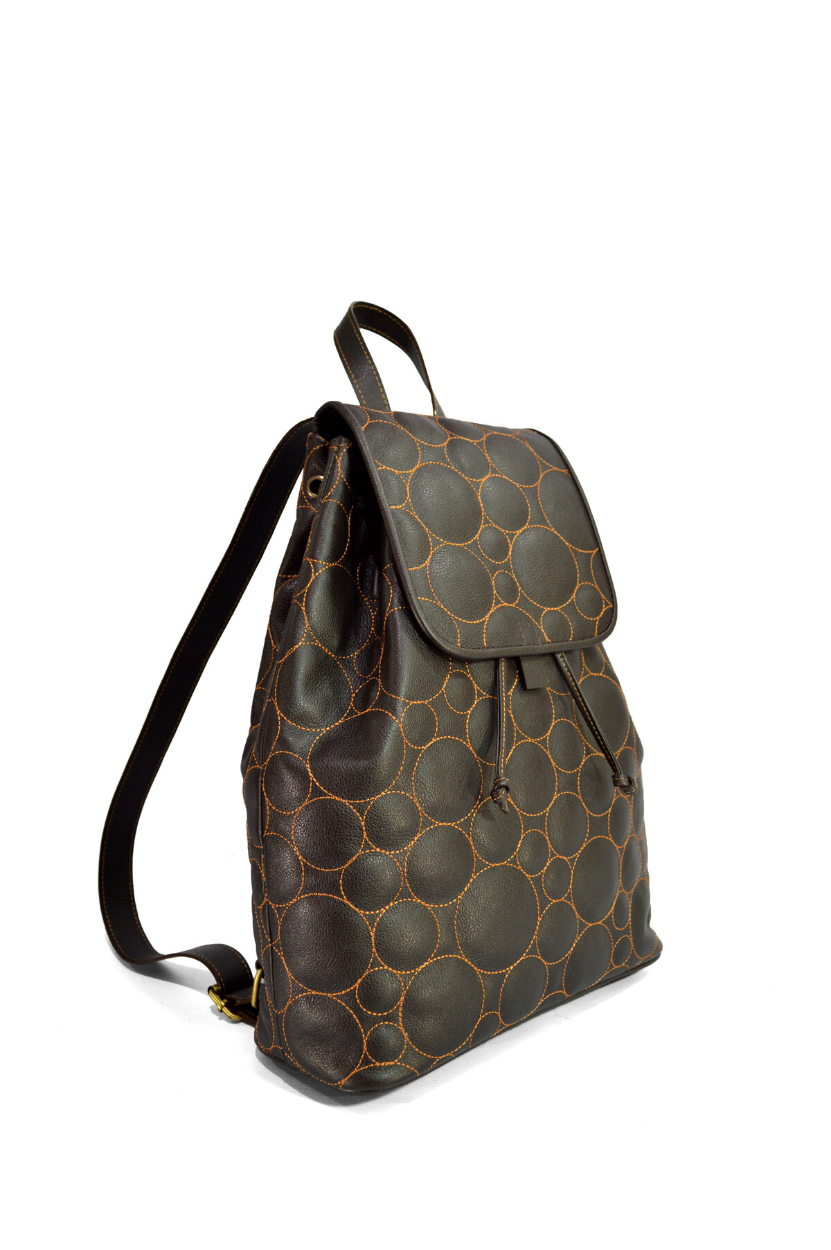 GraceLou Chocolate Brown Backpack (side view)