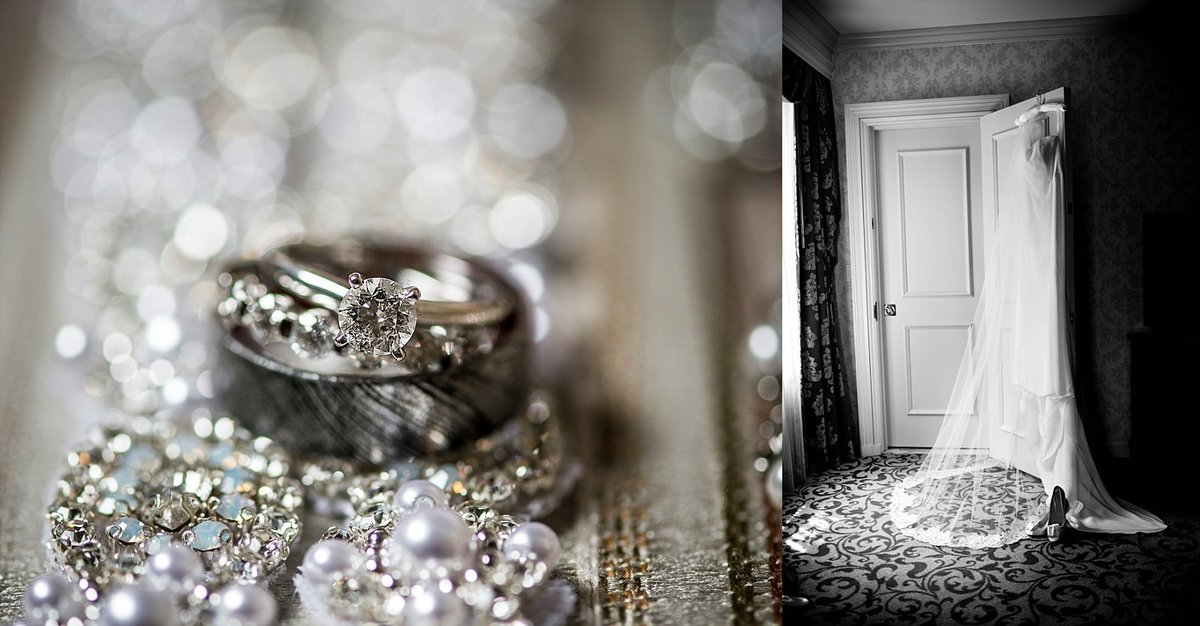 Ring Shot with Bokeh and Silk Wedding Dress, Bridal Details at the Willard DC