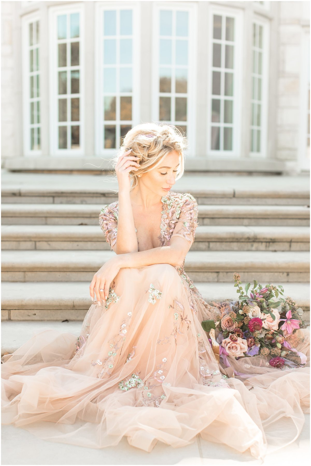 Bridal session  at The Olana, Pink Wedding Dress, Houston Wedding photographer