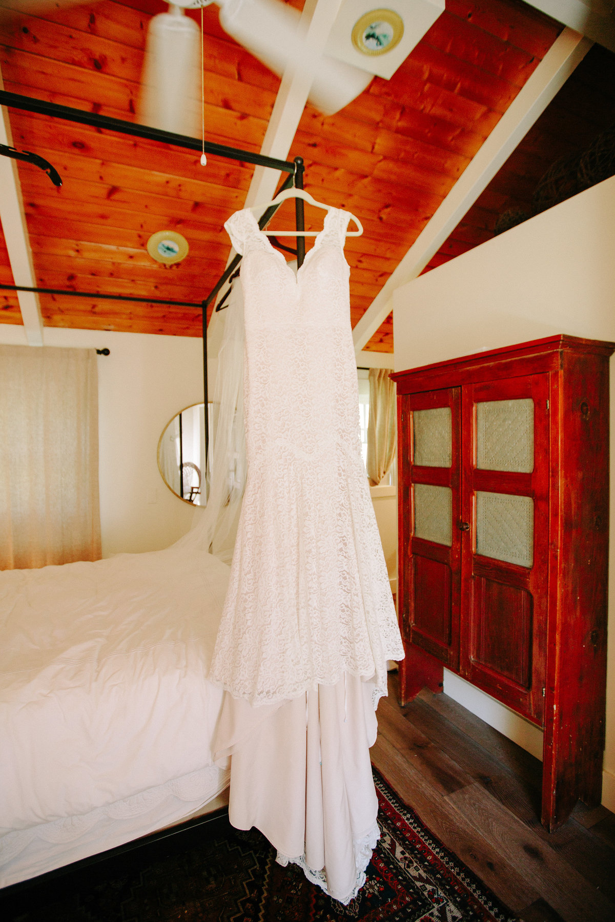 Bride's gown at a wedding at Beltane Ranch in Sonoma.