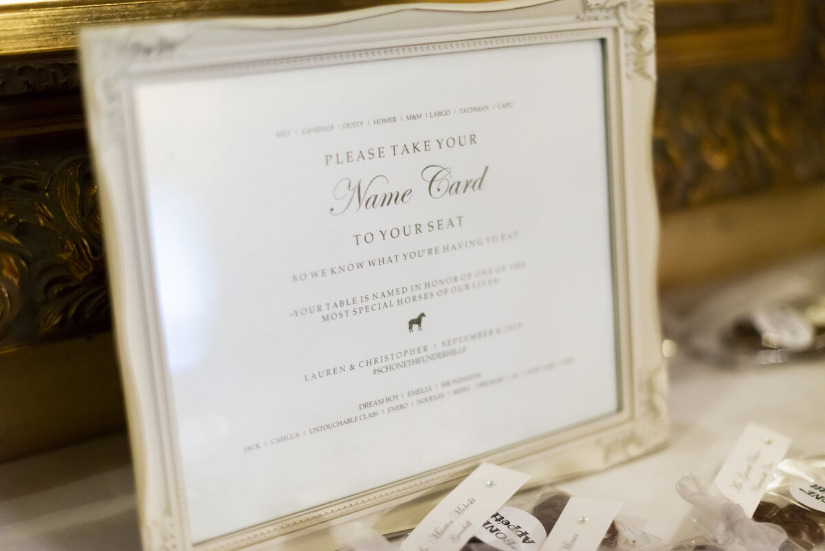 escort card table signage