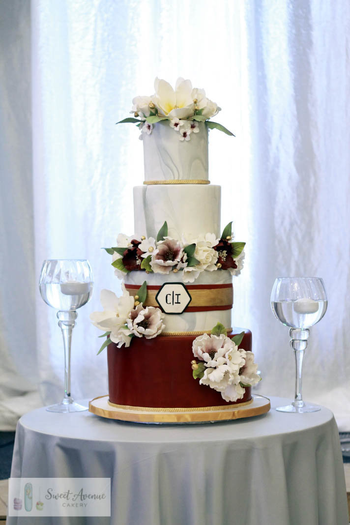 burgundy, gold and marble floral wedding cake Burlington Convention Centre