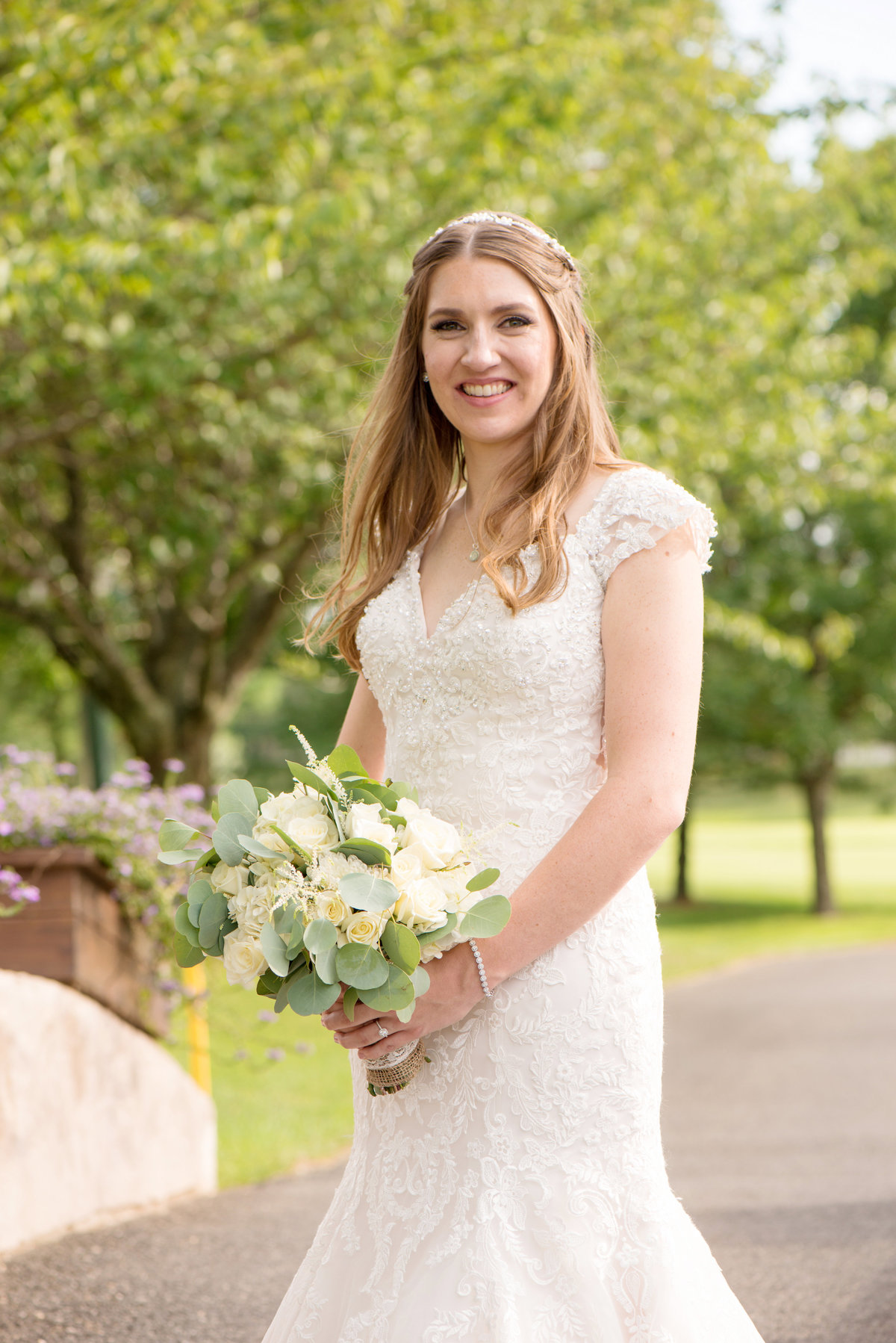 bride solo shot outside Willow Creek Golf and Country Club