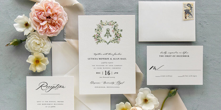 Leticia | Monogram Floral Garden Wedding Invitation-1
