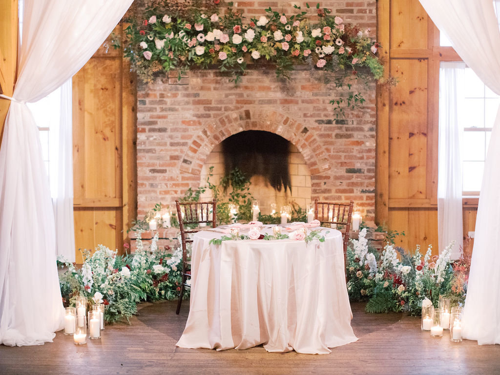 philadelphia wedding florist fireplace
