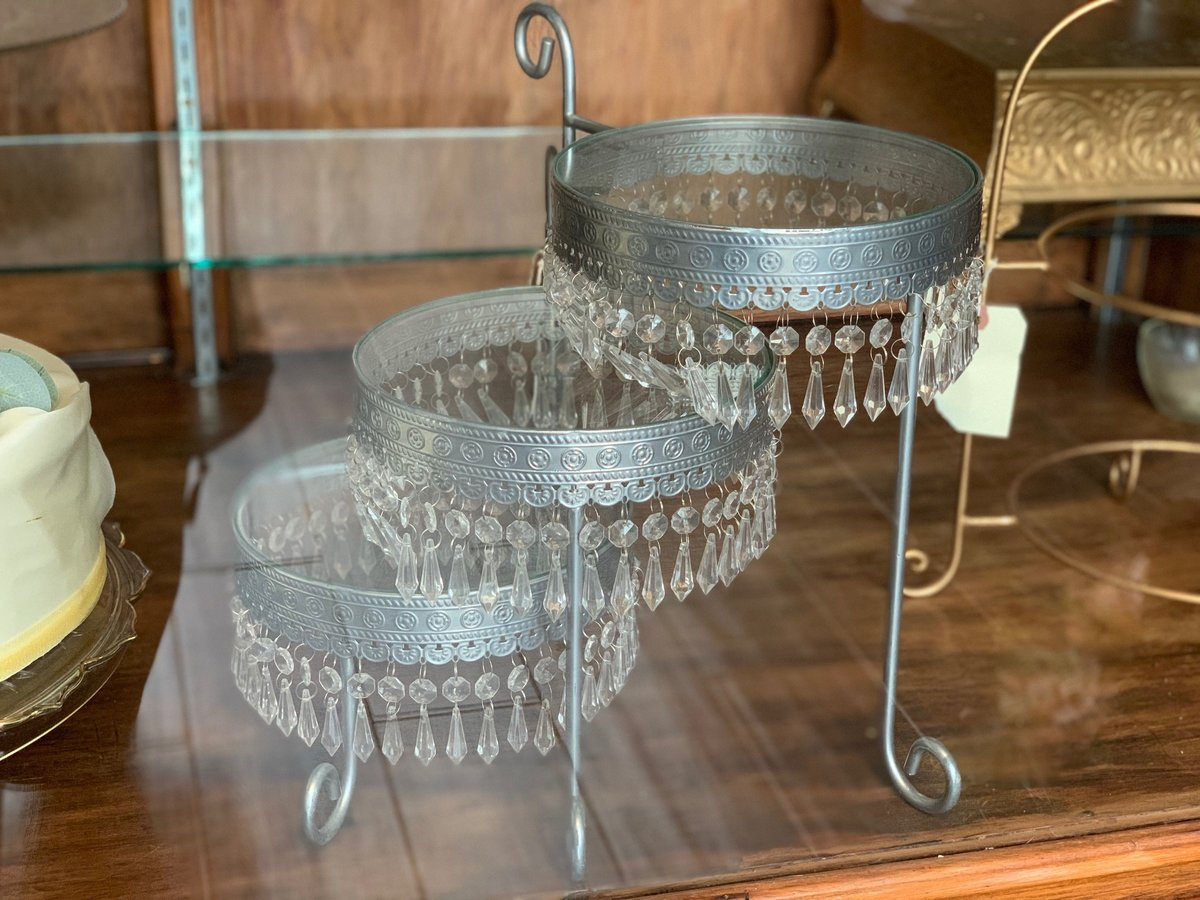silver offset tiered cake stand