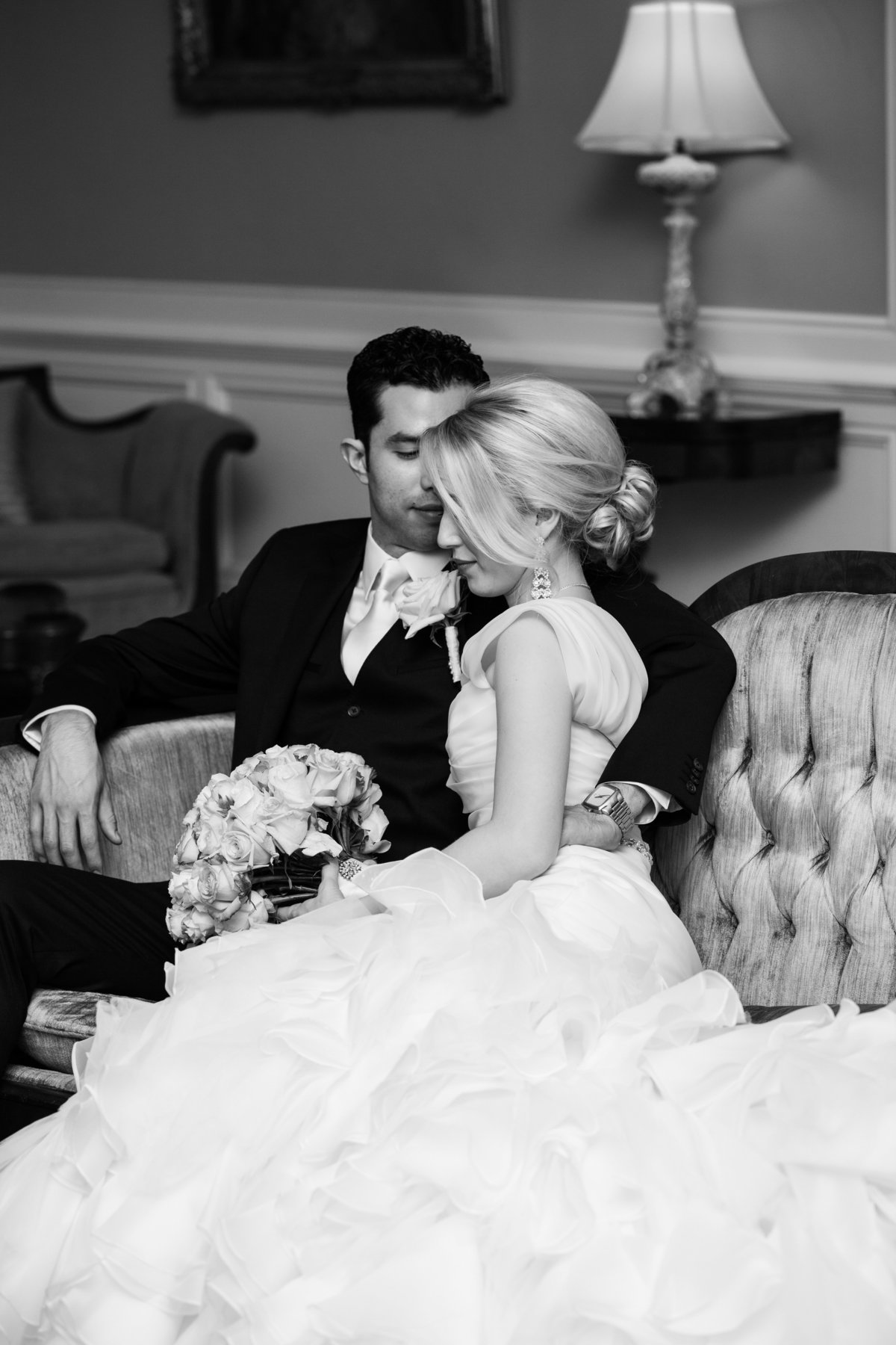 TFWC Mansion wedding photographer bride groom black white romantic pose 2312 San Gabriel St, Austin, TX 78705