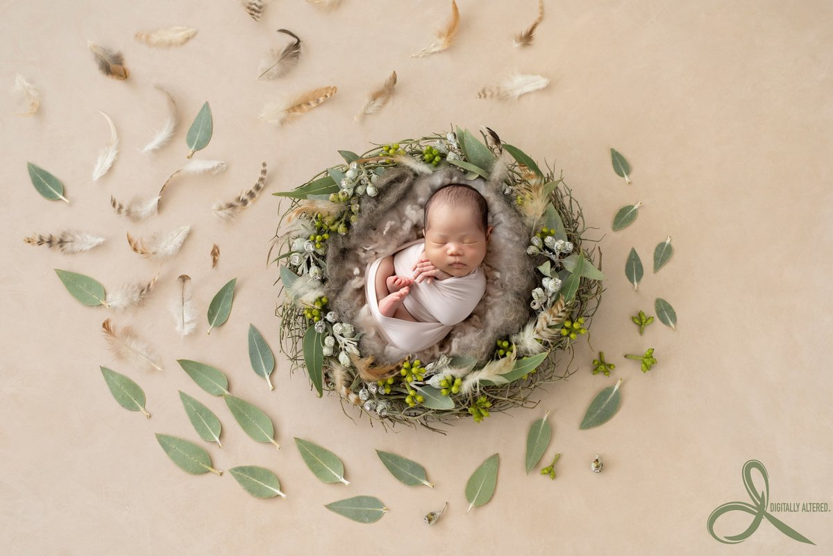 Little boy in a nest of leaves