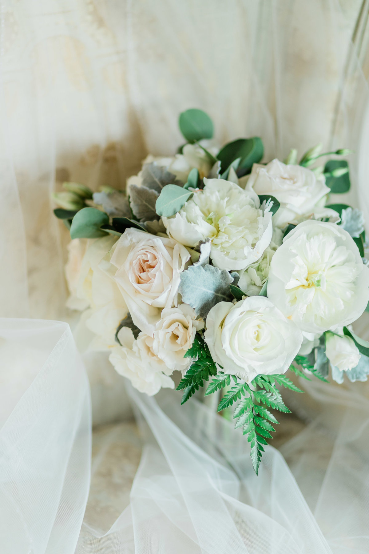 peony white rose bridal bouquet