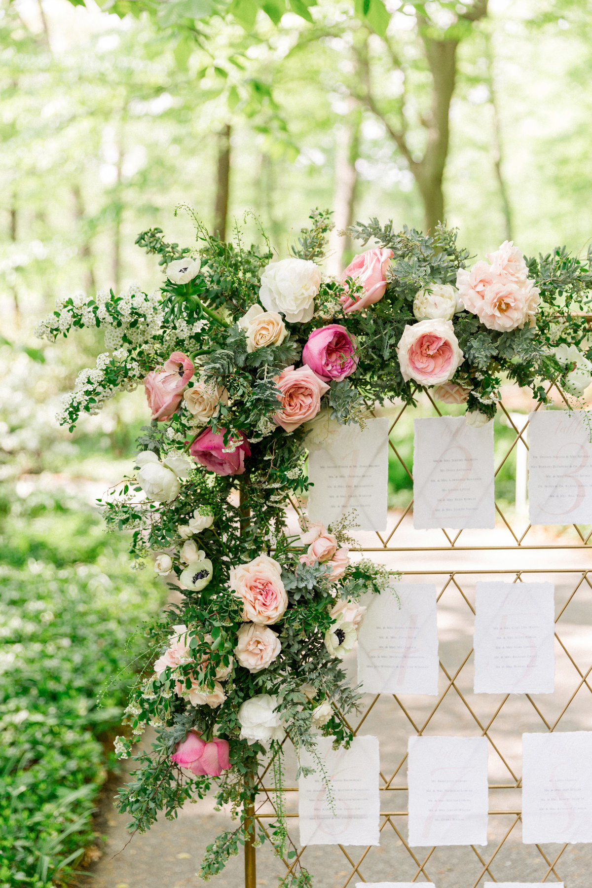 Wintherthur wedding spring escort display wedding design