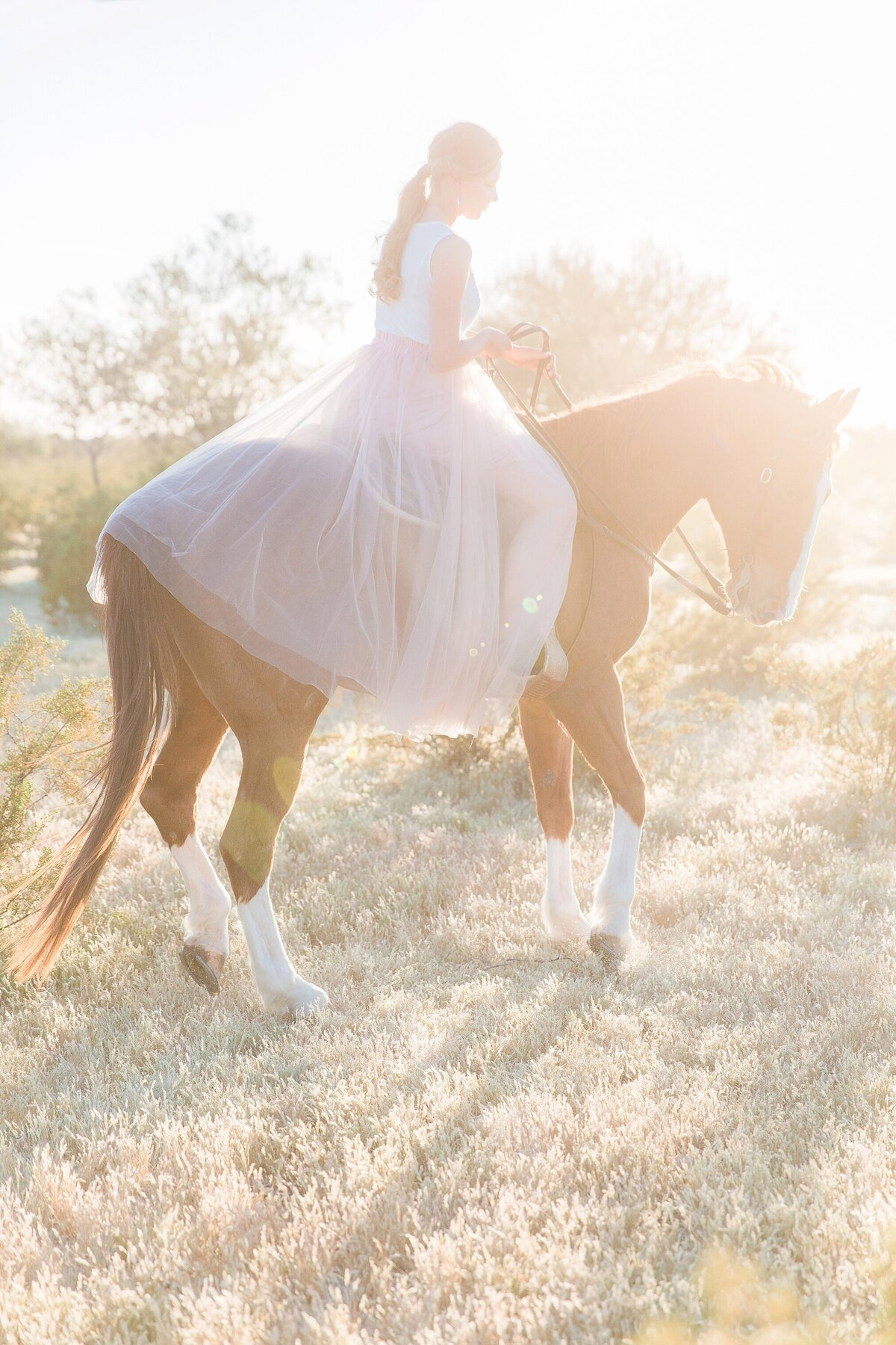 bride sitting on her horse, looking down at him as he's stepping sideways
