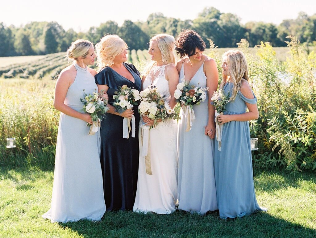 Michigan Wedding Florist Velvet Bridesmaid Dress-min