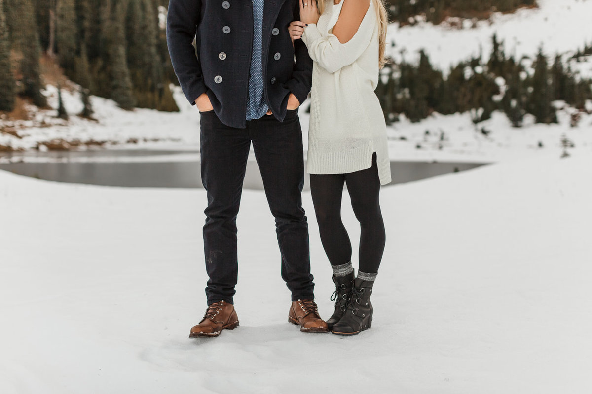 Snowy Mount Rainier Engagement Photos-24