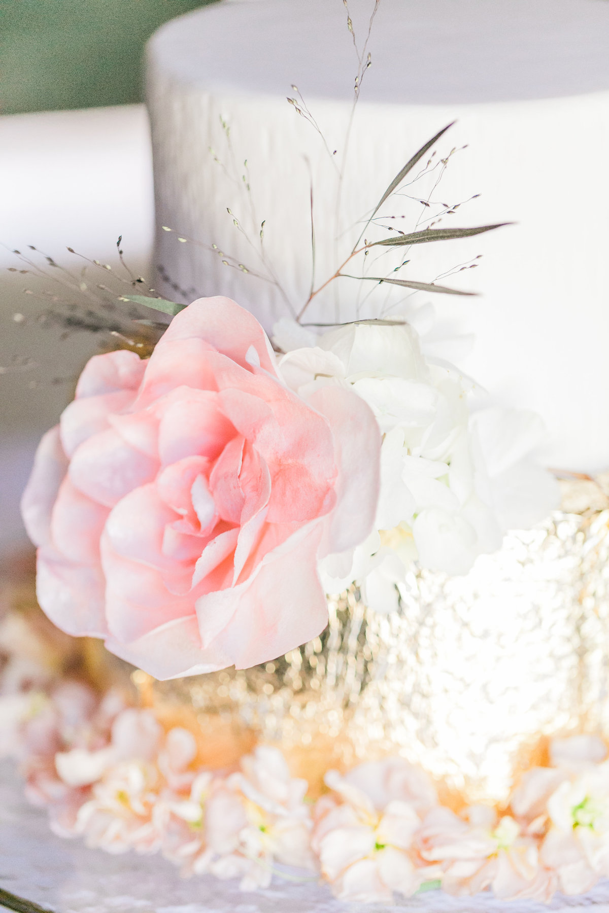 Pink Flower Gold Foil Wedding Cake Decor